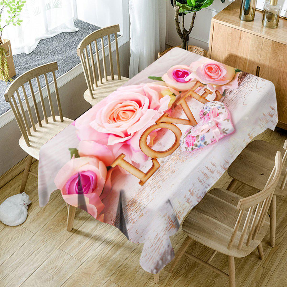 Unique Valentine's Day Roses Hearts Love Patterned Waterproof Table Cloth