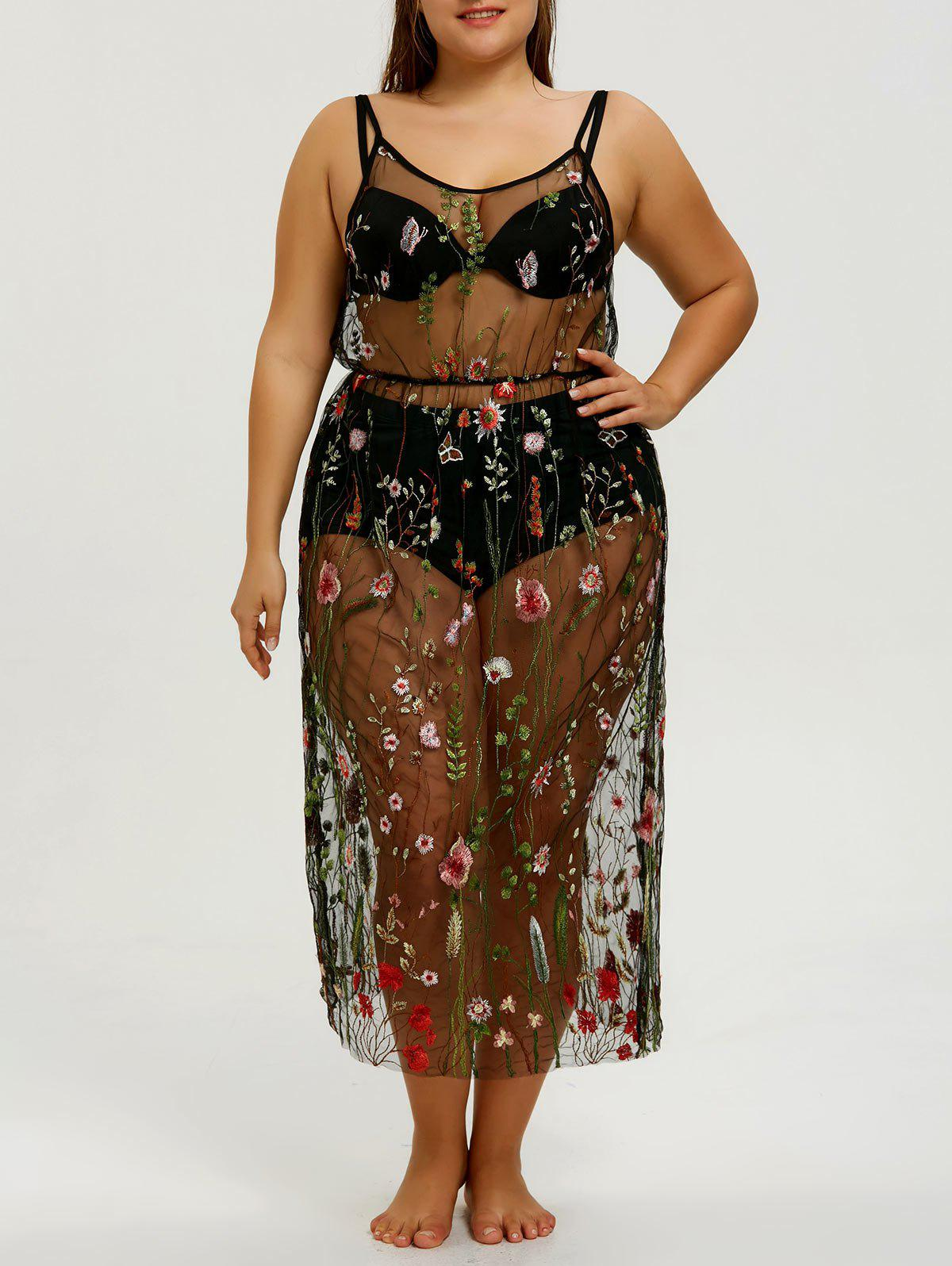 Fashion Plus Size Embroidery Slip Sheer Cover-up Dress