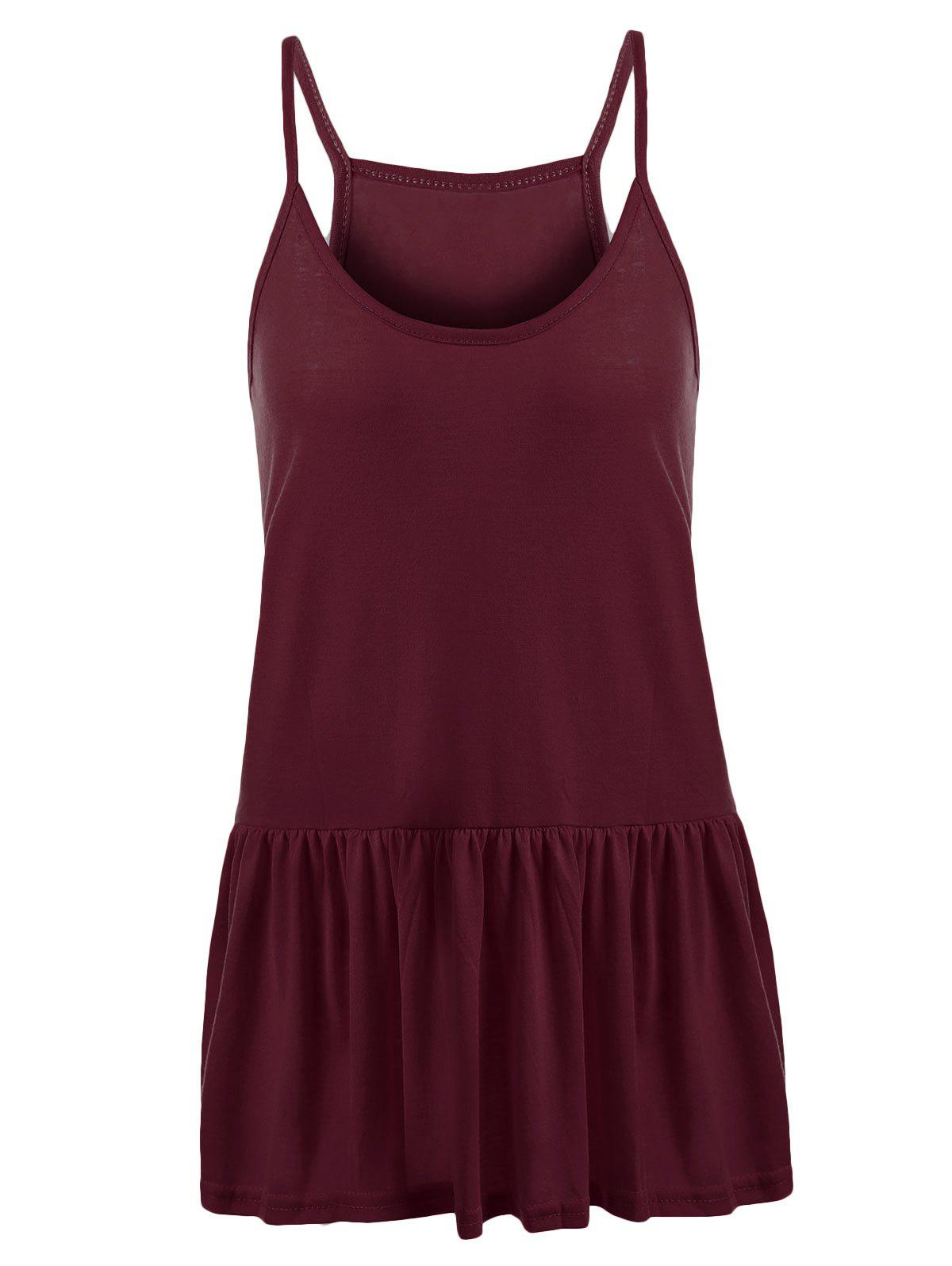 Cheap Casual Plus Size Frilly Tank Top