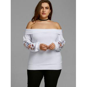 Plus Size Embroidery Off Shoulder Top -