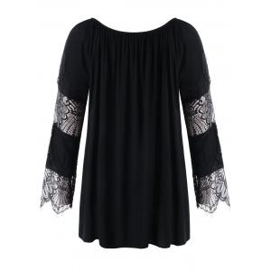 Lace Panel Plus Size Lace-up Blouse -