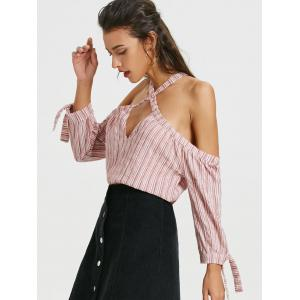 Cold Shoulder Cut Out Long Sleeve Striped Blouse -