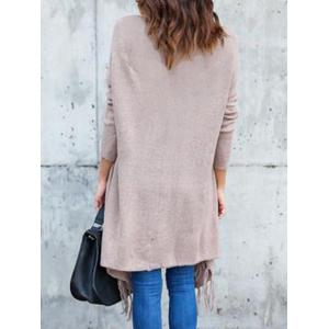 Collarless Tassel Insert Cardigan -
