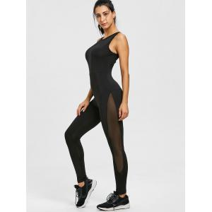 Cut Out Mesh Panel See Thru Yoga Jumpsuit -