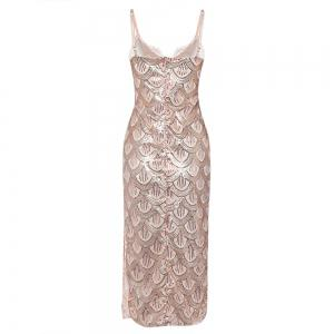 Sexy V Neck Backless Spaghetti Sparkly Glitter Sequins Dress Party Club Wearing -