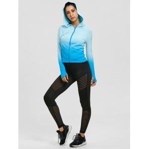 Ombre Hooded Zipper Sports Jacket -