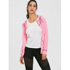 Raglan Sleeve Zipper Hooded Gym Jacket -