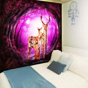Wall Hanging Tree Hole Deer Family Printed Tapestry -