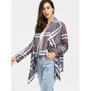 Plaid Elbow Patch Drapé devant Cardigan -