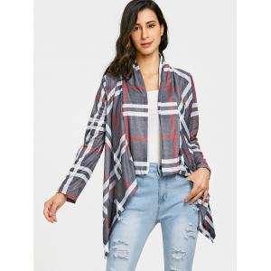 Plaid Elbow Patch Draped Front Cardigan -
