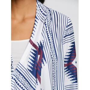 Tribal Print Stripe Tunic Draped Cardigan -