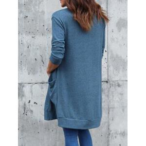 Front Pocket Collarless Cardigan -