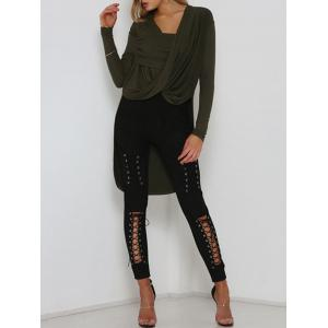 Cut Out Lace Up Faux Suede Pants -