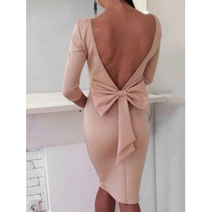Open Back Bowknot Embellished Bodycon Dress -
