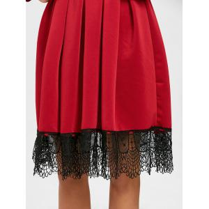 Long Sleeve Pleated Lace Trimmed Dress -
