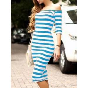 Striped Off The Shoulder Bodycon Dress -