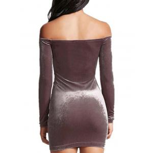 Off The Shoulder Moulante Zipper Dress -