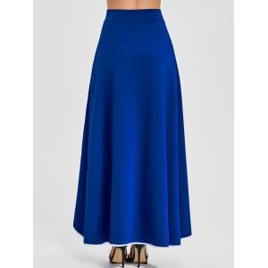 Buttons High Waist Asymmetric Maxi Skirt -
