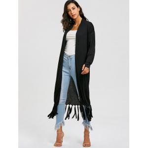 Fringe Long Open Front Cardigan -