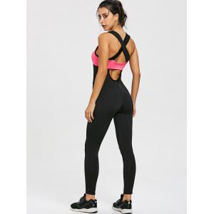 Mesh Insert Two Tone Criss Cross Gym Jumpsuit -