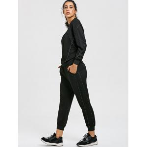 Raglan Sleeve Sweatshirt and Drawstring Jogger Pants Sport Suit -