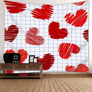 Valentine's Day Grid Heart Pattern Wall Hanging Tapestry -