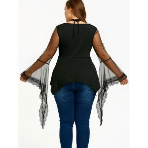 Plus Size Star Caged Mesh Sleeve Blouse -