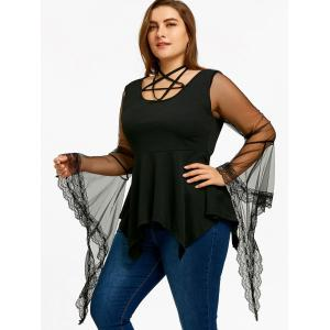 Плюс Размер Звезда Caged Mesh Sleeve Blouse -