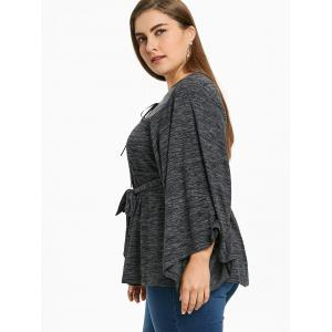 Plus Size Wide Sleeve Marled Top -