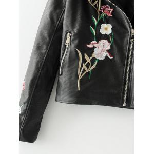 Floral Embroidered Faux Leather Biker Jacket -