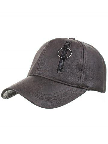 Trendy Outdoor PU Leather Zipper Embellished Baseball Hat