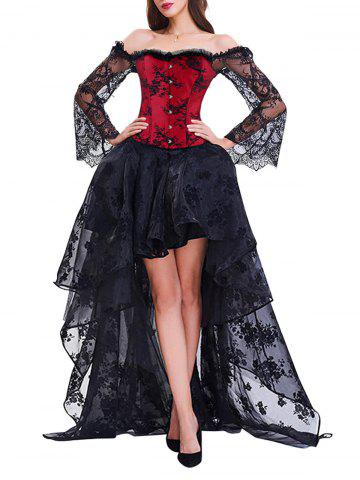 Trendy Corset Top with High Low Skirt