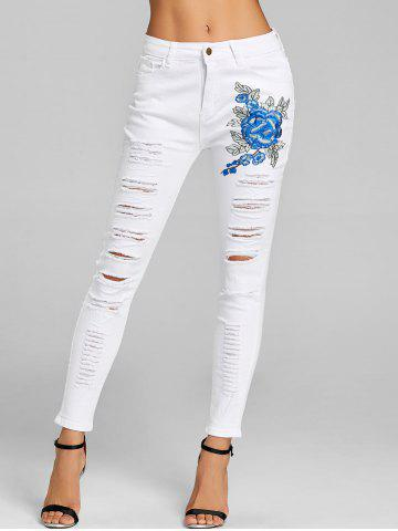 New Distressed Floral Embroidery Skinny Jeans