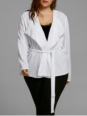 Cheap Plus Size Belted Short Coat