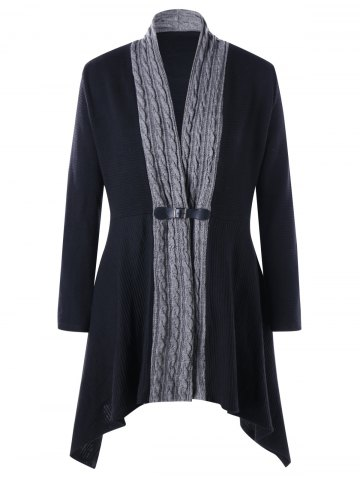 Trendy Cable Knit Panel Plus Size Asymmetrical Cardigan