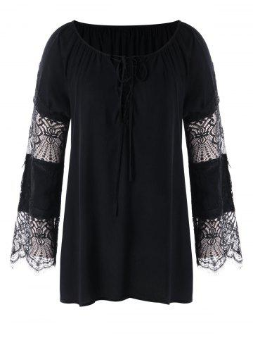 Hot Lace Panel Plus Size Lace-up Blouse