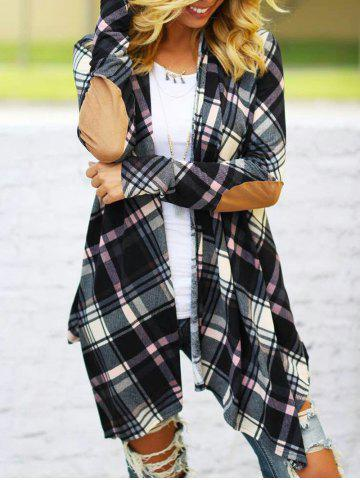 Trendy Elbow Patch Plaid Cardigan