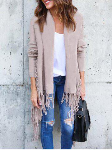 Discount Collarless Tassel Insert Cardigan