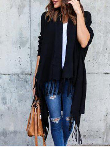 Outfit Collarless Tassel Insert Cardigan