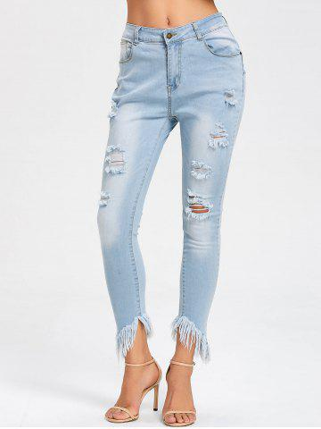 Outfits Ripped Frayed Hem Skinny Jeans