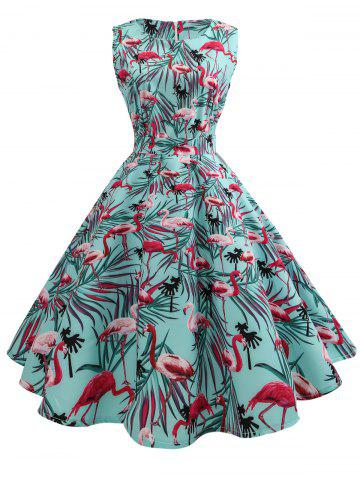 Discount Sleeveless Birds Print A Line Dress