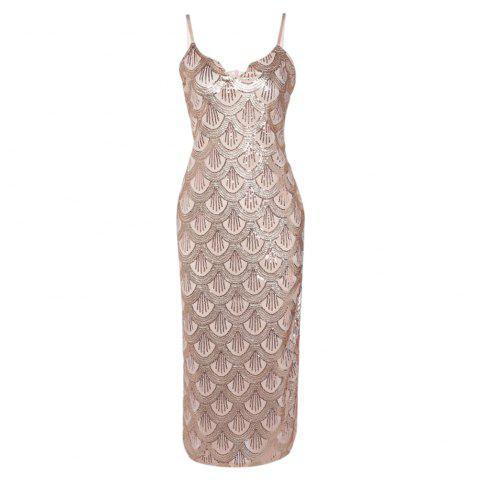 Unique Sexy V Neck Backless Spaghetti Sparkly Glitter Sequins Dress Party Club Wearing