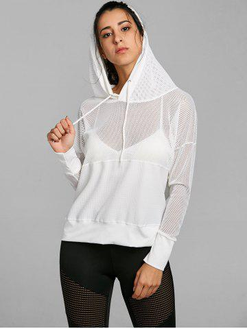 Chic Hooded Mesh Panel Drop Shoulder Sports Top