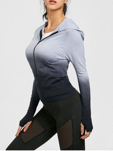 Ombre Hooded Zipper Sports Jacket