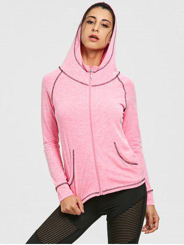 Raglan Sleeve Zipper Hooded Gym Veste