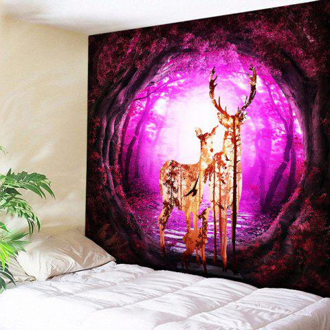 Best Wall Hanging Tree Hole Deer Family Printed Tapestry