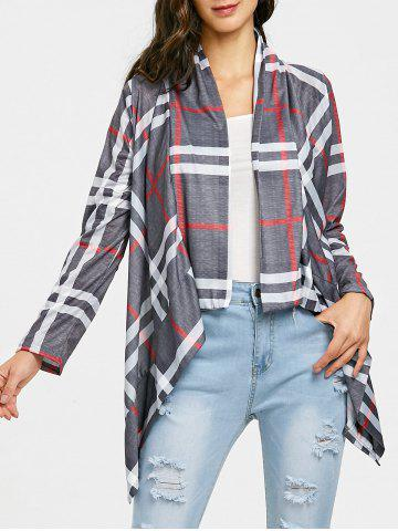 Trendy Plaid Elbow Patch Draped Front Cardigan