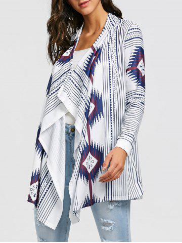 Chic Tribal Print Stripe Tunic Draped Cardigan