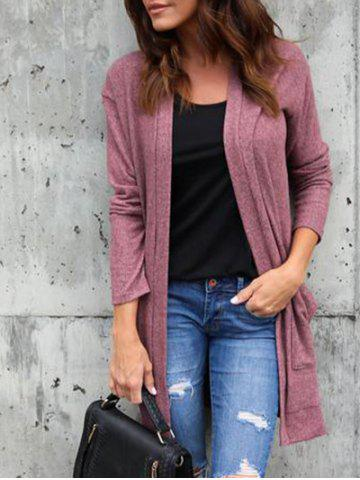 Online Front Pocket Collarless Cardigan