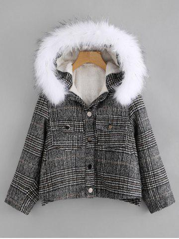 Sale Front Pockets Plaid Parka Jacket